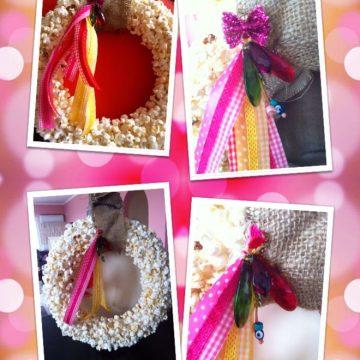 popcorn wreath collage