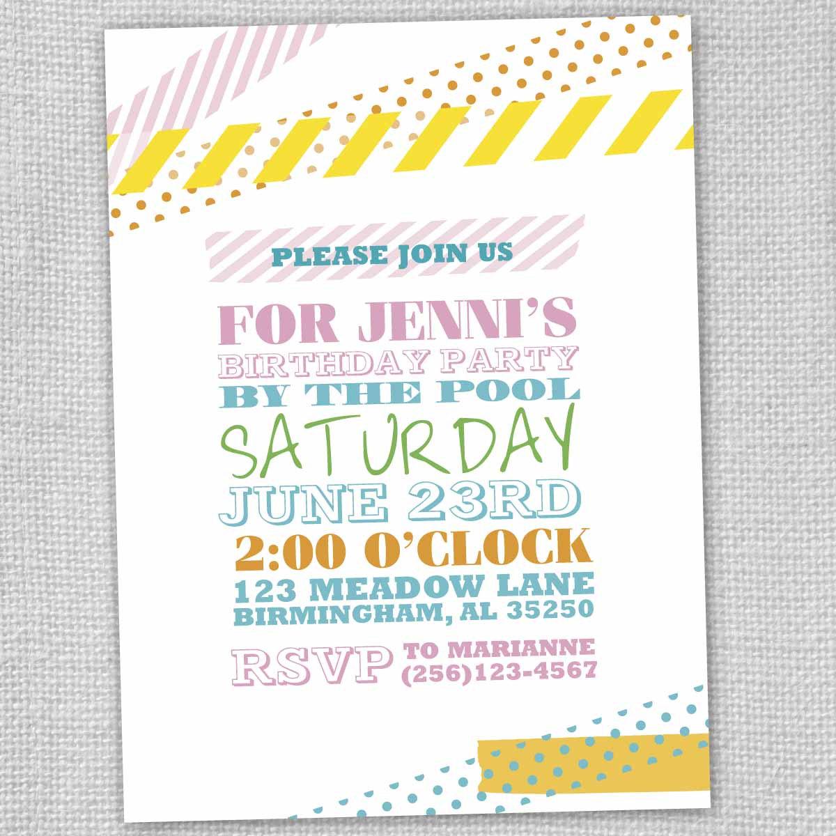 via etsy.com/listing/98853474/washi-tape-birthday-pool-party-invite