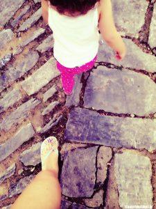 skiathos walking feet selfie
