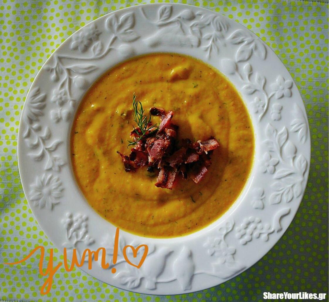 σούπα βελουτέ καρότου με μπέικον
