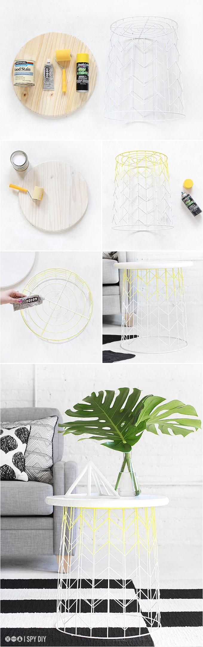 via http://ispydiy.com/my-diy-wire-basket-side-table/