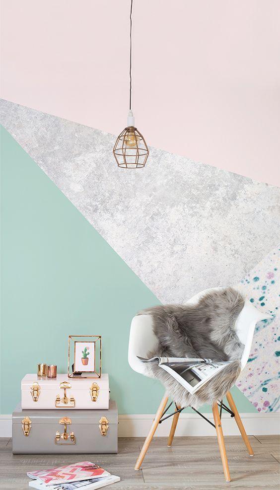 via https://www.muralswallpaper.com/shop-murals/pink-and-green-geometric-wall-mural/