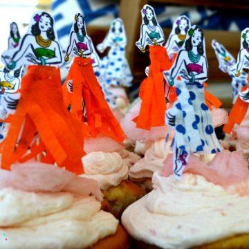 kerasma se party paidiko_xavaneziko_hawaiian_diakosmisi cupcake